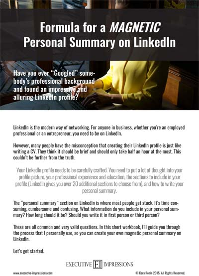 Formula for a Magnetic Personal Summary on LinkedIn